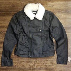 Levi's Black Denim Moto Jacket With Sherpa Collar